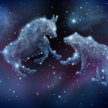 Stock market forecasting and investment predictions with financial icons of a bull and bear made of shinning constellation stars on a night sky in space as a business concept of investing ideas.