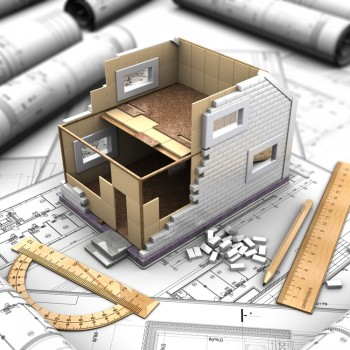 3d illustration of a two-story house plan and drawings