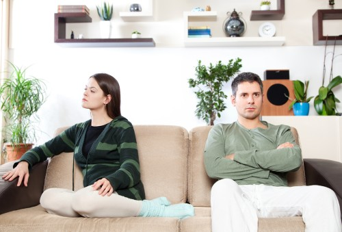Image of young couple after quarrel